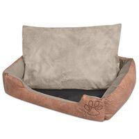 vidaXL suņu gulta + spilvens, PU mākslīgā āda, L, bēša