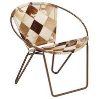 vidaXL krēsls, brūns rombveida raksts, dabīgā āda