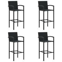 vidaXL bāra krēsli, 4 gab., melna PE rotangpalma