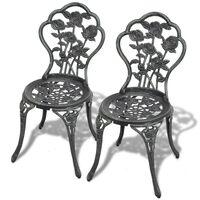 vidaXL bistro krēsli, 2 gab., liets alumīnijs, zaļi