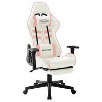vidaXL datorspēļu krēsls, balta un rozā mākslīgā āda