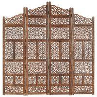 vidaXL 4-paneļu aizslietnis ar kokgriezumiem, brūns, 160x165 cm, mango