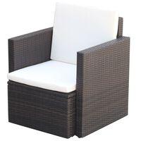 vidaXL dārza krēsls ar matraci un spilvenu, PE rotangpalma, brūns