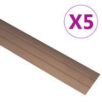 vidaXL kāpņu profili, 5 gab., 100 cm, brūns alumīnijs