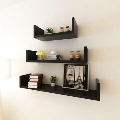 U- formas sienas plaukti grāmatām un DVD, 3 gab., MDF, melns