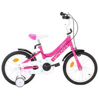 vidaXL bērnu velosipēds, 16 collas, melns ar rozā