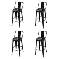 vidaXL bāra krēsli, 4 gab., melns tērauds