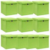 vidaXL uzglabāšanas kastes ar vāku, 10 gab., 32x32x32 cm, zaļš audums