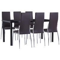 vidaXL virtuves galds un 6 krēsli, brūna mākslīgā āda