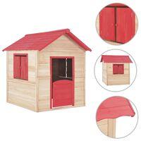 vidaXL bērnu rotaļu māja, sarkanas detaļas, egles koks