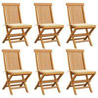 vidaXL dārza krēsli, krēmkrāsas matrači, 6 gab., masīvs tīkkoks