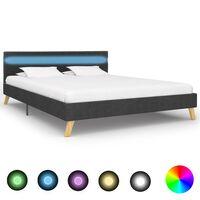 vidaXL gultas rāmis ar LED, tumši pelēks audums, 140x200 cm