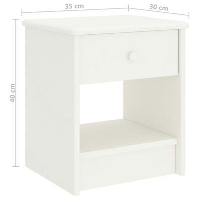vidaXL naktsskapītis, balts, 35x30x40 cm, priedes masīvkoks