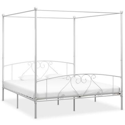 vidaXL gultas rāmis ar nojumi, balts metāls, 180x200 cm