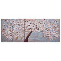 vidaXL sienas gleznu komplekts, plaukstošs koks, krāsaina, 150x60 cm
