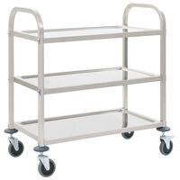 vidaXL virtuves ratiņi, 3 plaukti, 107x55x90 cm, nerūsējošs tērauds