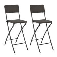vidaXL saliekami bāra krēsli, 2 gab., HDPE un tērauds, brūni