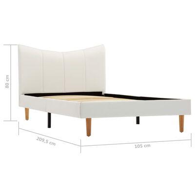 vidaXL gultas rāmis, balta mākslīgā āda, 100x200 cm