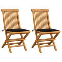 vidaXL dārza krēsli, melni matrači, 2 gab., masīvs tīkkoks