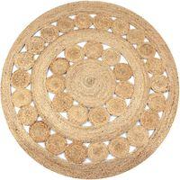 vidaXL paklājs, pīts, apaļš, 150 cm, džuta