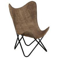vidaXL tauriņa formas krēsls, pelēkbrūns audums