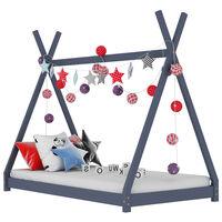 vidaXL bērnu gultas rāmis, pelēks, priedes masīvkoks, 80x160 cm