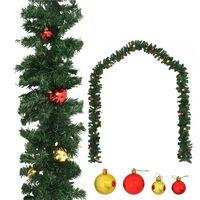 vidaXL Ziemassvētku vītne ar bumbiņām, 10 m