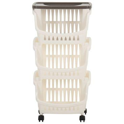 vidaXL virtuves ratiņi, balti un pelēkbrūni