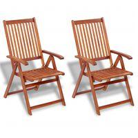 vidaXL saliekami dārza krēsli, 2 gab., akācijas masīvkoks, brūni