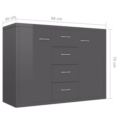 vidaXL kumode, 88x30x65 cm, kokskaidu plāksne, spīdīgi pelēka