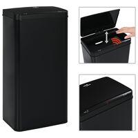 vidaXL automātiska atkritumu tvertne ar sensoru, melns tērauds, 80 L