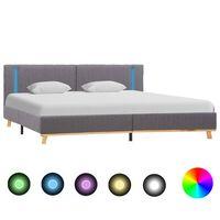 vidaXL gultas rāmis ar LED, gaiši pelēks audums, 180x200 cm
