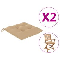 vidaXL dārza krēslu spilveni, 2 gab., bēši, 40x40x7 cm, audums