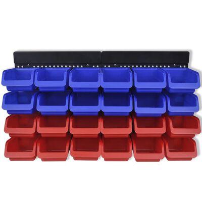 Plastmasas kastes garāžai 24 gb, liekamas pie sienas, zilas,sarkanas