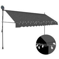 vidaXL izvelkama markīze ar LED, manuāla, 350 cm, antracītpelēka