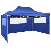 vidaXL telts, 3x4,5 m, 3 sienas, saliekama, zila