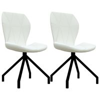 vidaXL virtuves krēsli, 2 gab., balta mākslīgā āda