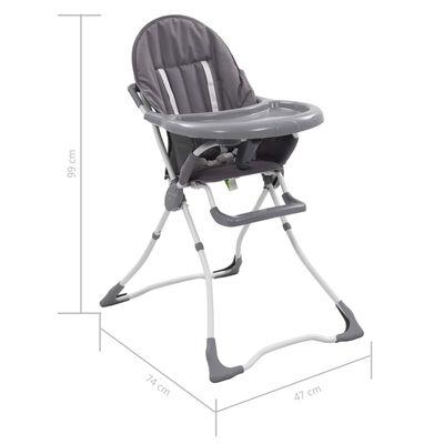 vidaXL bērnu barošanas krēsls, pelēks ar baltu