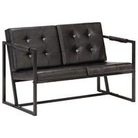 vidaXL divvietīgs dīvāns, melns, dabīgā kazas āda