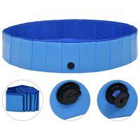 vidaXL suņu baseins, salokāms, zils, 160x30 cm, PVC