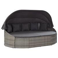vidaXL dārza atpūtas gulta ar jumtiņu, pelēka PE rotangpalma