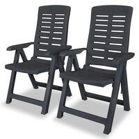 vidaXL atgāžami dārza krēsli, 2 gab., pelēka plastmasa