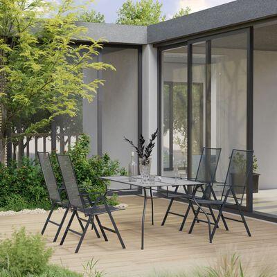 vidaXL 5-daļīgs dārza mēbeļu komplekts, tērauds, antracītpelēks