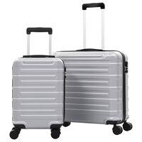 vidaXL cieto koferu komplekts, 2 gab., ABS, sudraba krāsā
