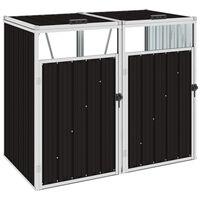 vidaXL divdaļīga nojume atkritumu konteineriem, brūna, 143x81x121 cm
