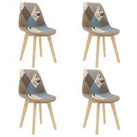 vidaXL virtuves krēsli, 4 gab., pelēks tekstilmozaīkas dizaina audums