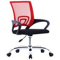 vidaXL biroja krēsls ar sieta atzveltni, sarkans audums