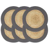 vidaXL galda paliktņi, 6 gb., antracīta, dabīga krāsa, 38 cm, kokvilna