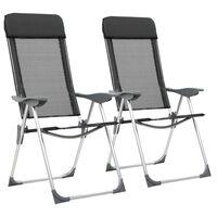 vidaXL kempinga krēsli, 2 gab., melni, alumīnijs, salokāmi