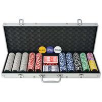 vidaXL pokera komplekts ar 500 lāzeruzlīmju žetoniem, alumīnijs